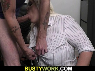 Hot blonde BBW secretary office sex