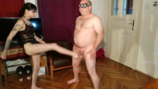 Beth Kinky - Kicking nuts of my old fat slave