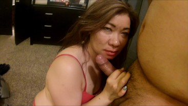 Hot Asian Milf strips sucks cock and fucks