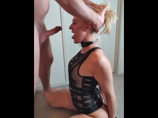Cuffed and collared slut gets messy face fuck.