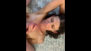 Quick blowjob to start the day skinny milf sucking cock POV swallow