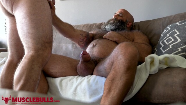 Gay fat men and hairy bears - Hairy muscle bear strokes big fat cock until shooting a big load
