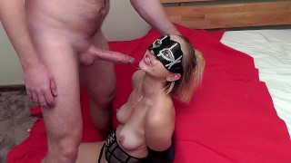 Hands tied sloppy deepthroat. She almost bite the cock off!!! (4:50)