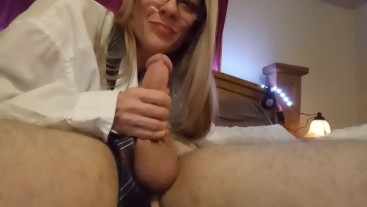 Milf Librarian Teases his Cock, Sucks the Tip, and Swallows his Load