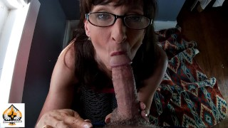 Sexy Granny Wearing Glasses Sucks and Drains A Fat Cock