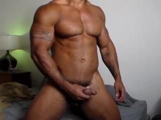 Muscular big samson jerking off his big black...