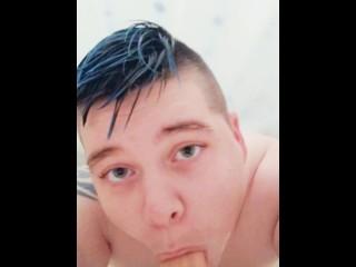 POV: Ftm gives dildo blowjob in the shower