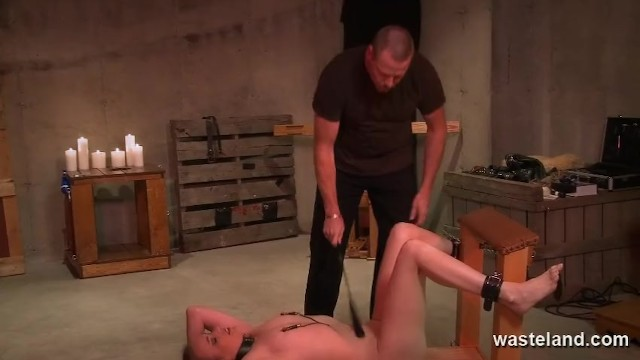 Stimulation orgasm Hardcore bdsm with ankle and wrist cuffs electro stimulation and domination