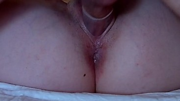 Amateur mounted, touches clit while fuck has double orgasm, cum in condom