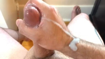 Stroking my Big Thick Cock for a Huge Cumshot on my Birthday - So Much Cum!