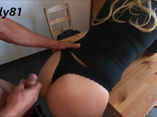 she sexy, he too excited, so much cum squirts