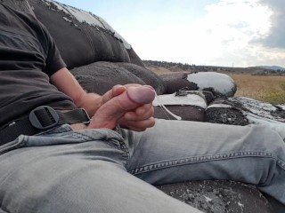 Public piss and cum on an abandoned couch