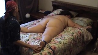 BBW Granny Tied to bed and Tickled until she laughs and squirms