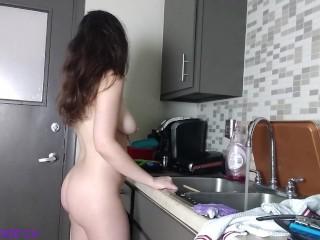Washing the dishes naked...