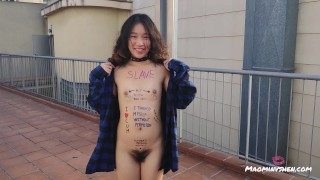 Chinese little sub loves body writing and being exposed