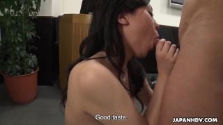 Japanese chick, Emiko Shinoda sucks cock, uncensored