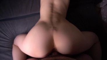 Hard fucked beauty and cum in mouth. POV