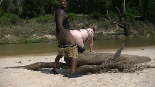 PAWG gets dicked at public beach by BBC