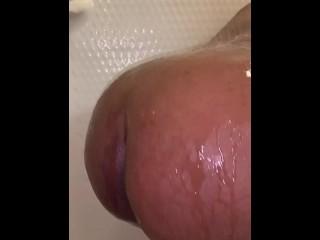 In shower...
