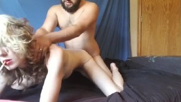 Tiny babe smoking on hands & knees fucked hard from behind- gut nut