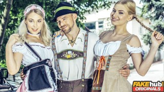 Fake Oktoberfest with two hot young blondes