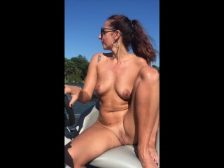 Naked boat captain it all off water...