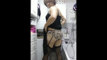 Patty crossdresser in black sheer dress