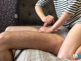 Cum blocking. Attempt 2 failed. Nice cumshot and aftercare