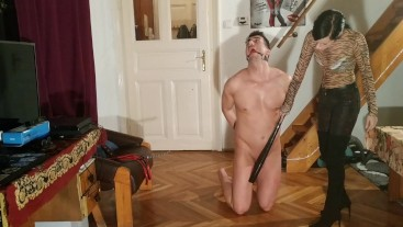 Beth Kinky - Goth domina makes CBT with caning and spanking HD