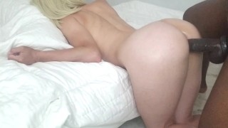 Blondes SUCTION CUP PUSSY Cums Hard From Edging