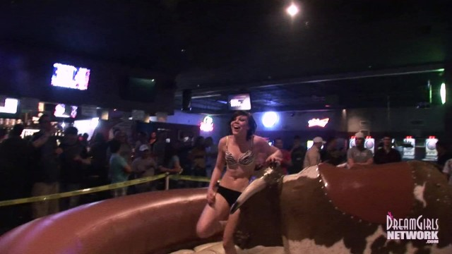 Hot Girls In Lingerie Ride Mechanical Bull At Local Night Club 17