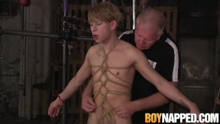 Chained sub Daniel Hausser rimmed before rough anal play