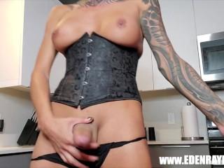Eden strokes and eats cum preview...
