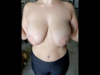 Busty Wife shakes tits in slow motion