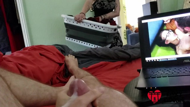 Laundry slut Roommate doing laundry walks in, watches me jerk and cum