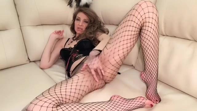 Masturbation and Cum in the Black Fishnet Pantyhose by Adriana Melfi 43
