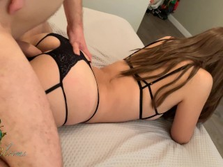 POV Risky Teen Creampie – Emptying his balls deep in her tight pussy