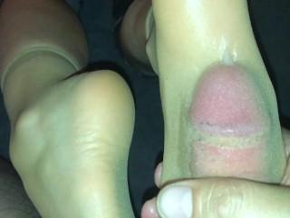 28 nylon cum in sock...