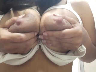 LACTATING LATINA with MOM'S UNDERWEAR shows her DRIPPING MILK TITS (music)