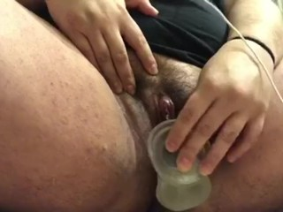 Chubby Latina with clear dildo squirting