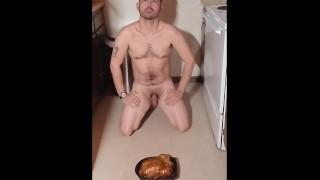 Making Tip Kneel for His Food - naked, hands&teeth, primal, visceral