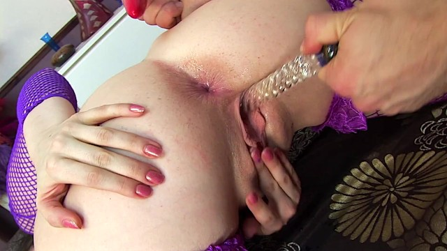 H-Bomb ANAL! Huge Fake Tits, Dildo & Ass Fucking in a Fishnet Bodystocking 7