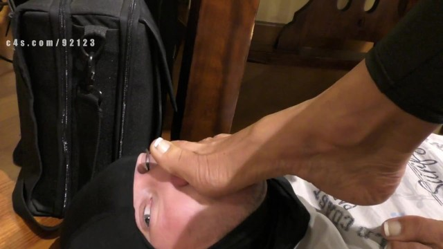 Dominant wife ass worship Milf and wife domination, dangling heels and foot sniffing worship
