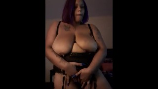 Play time with my Natural 46G black tits