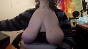 BBW Granny with big titties hanging out reads fan mail - bumbles thru tech