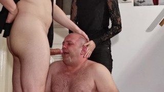 Beth Kinky - Sexy goth domina help her stepdad to fuck slave's mouth HD