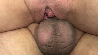 Husband eats up his wife's creampie filled pussy after he goes balls deep. Feeding him every cumdrop