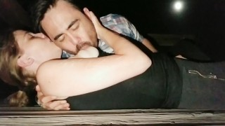 Nursing on a Public Pier at Night - Button cums 2x from nipple stimulation