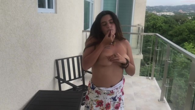 smoking and playing with my pussy on a balcony above kingston, jamaica