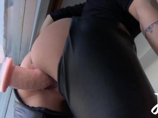 Hot babe rides big dildo and cumms hard...